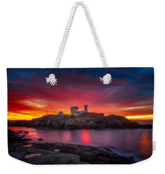 Sunrise Over Nubble Light Weekender Tote Bag