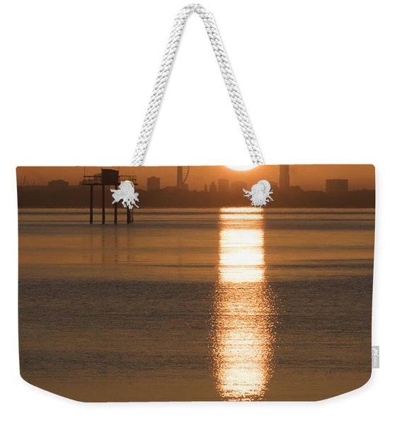 Weekender Tote Bag featuring the photograph Sunrise Over Portsmouth by Clayton Bastiani