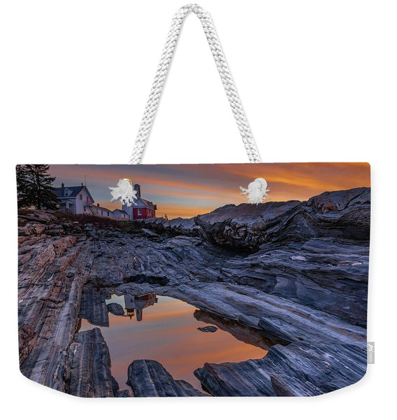 Sunrise Reflections At Pemaquid Point Weekender Tote Bag