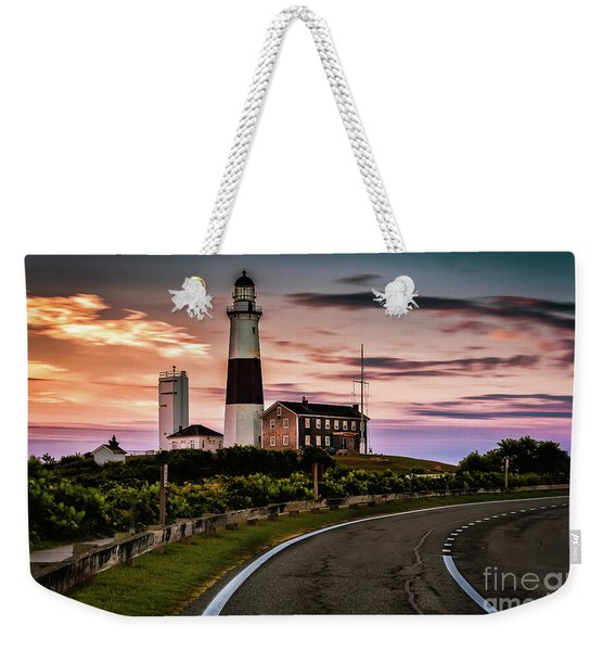 Sunrise Road To The Montauk Lighthous Weekender Tote Bag