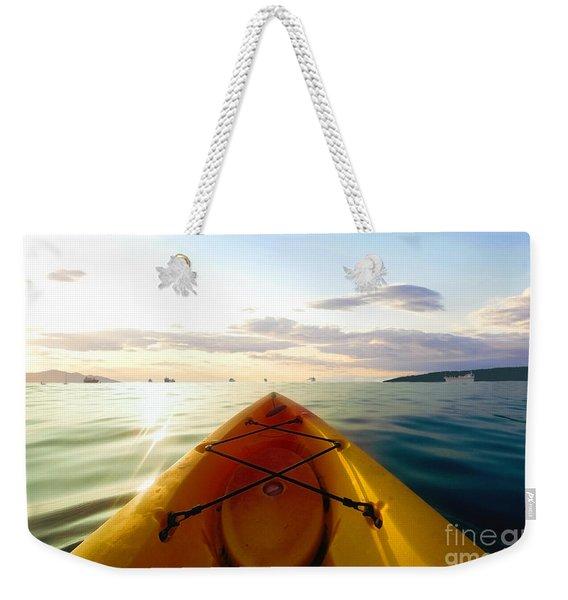 Sunrise Seascape Kayak Adventure Weekender Tote Bag