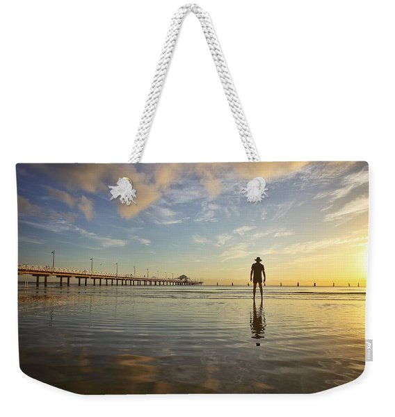 Sunrise Silhouette Down By The Pier. Weekender Tote Bag