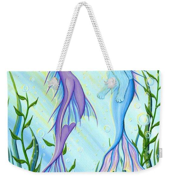 Sunrise Swim - Sea Dragon Mermaid Cat Weekender Tote Bag