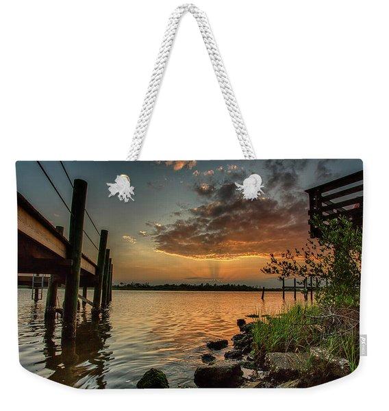 Sunrise Under The Dock Weekender Tote Bag