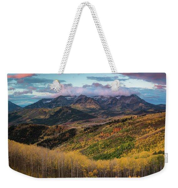 Sunrise View Of Mount Timpanogos Weekender Tote Bag