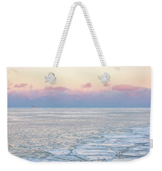 Sunset Across The Frozen Lake Weekender Tote Bag