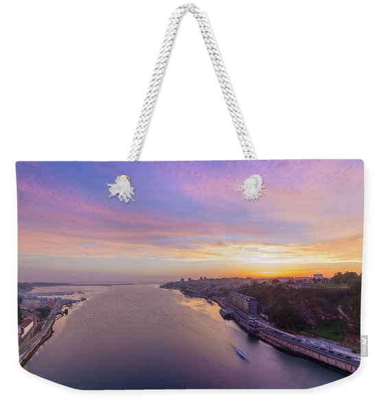Sunset And A Small Boat Weekender Tote Bag