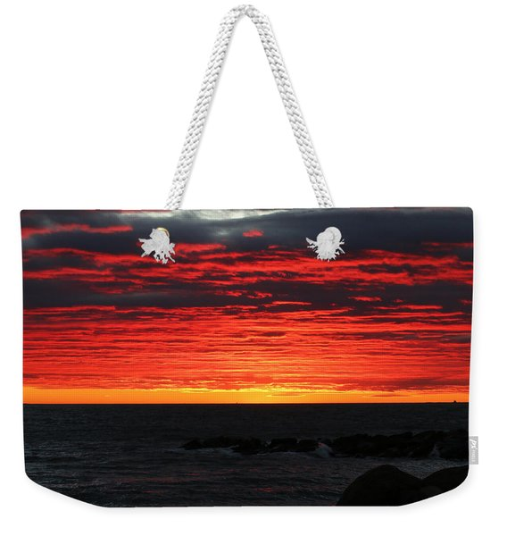 Weekender Tote Bag featuring the photograph Sunset And Jetty by William Selander