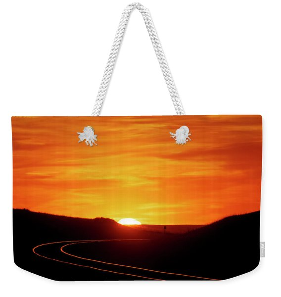 Sunset And Railroad Tracks Weekender Tote Bag
