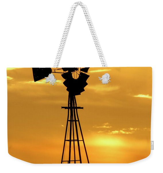 Sunset And Windmill 15 Weekender Tote Bag
