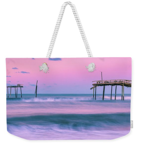 Weekender Tote Bag featuring the photograph Sunset At Frisco Fishing Pier Panorama by Ranjay Mitra