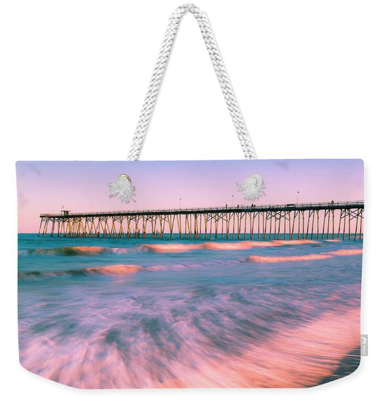Weekender Tote Bag featuring the photograph Sunset At Kure Beach Fishing Pier Panorama by Ranjay Mitra