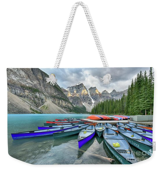 Sunset At Moraine Lake Weekender Tote Bag