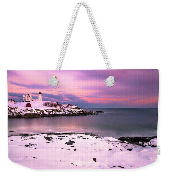 Sunset At Nubble Lighthouse In Maine In Winter Snow Weekender Tote Bag