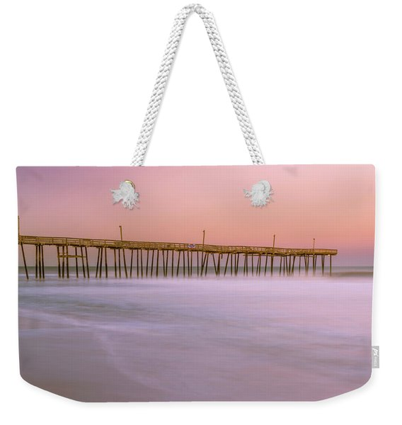 Weekender Tote Bag featuring the photograph Sunset At Rodanthe Fishing Pier In Obx Panorama by Ranjay Mitra
