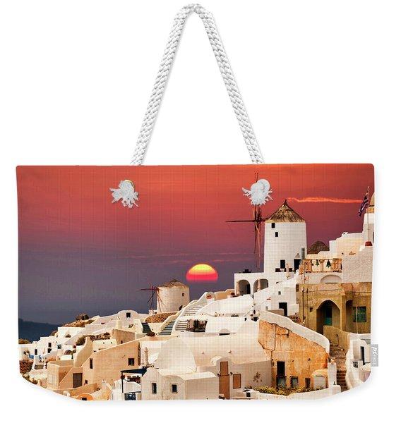sunset at Santorini Weekender Tote Bag