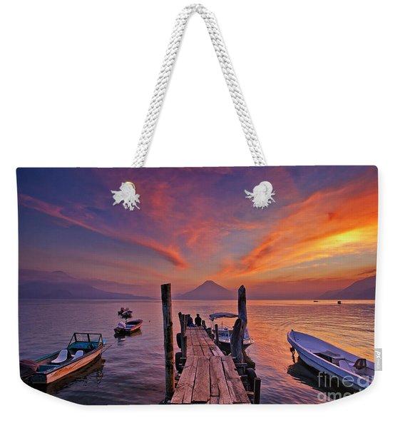 Sunset At The Panajachel Pier On Lake Atitlan, Guatemala Weekender Tote Bag