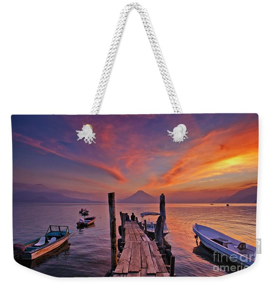 Weekender Tote Bag featuring the photograph Sunset At The Panajachel Pier On Lake Atitlan, Guatemala by Sam Antonio Photography