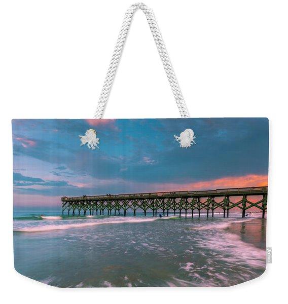 Sunset At Wilmington Crystal Pier In North Carolina Weekender Tote Bag