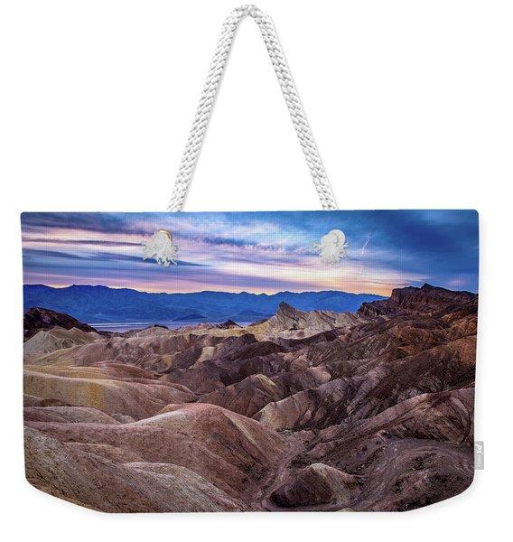 Sunset At Zabriskie Point In Death Valley National Park Weekender Tote Bag