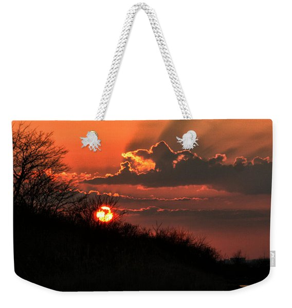 Weekender Tote Bag featuring the photograph Sunset Behind A Knoll by William Selander