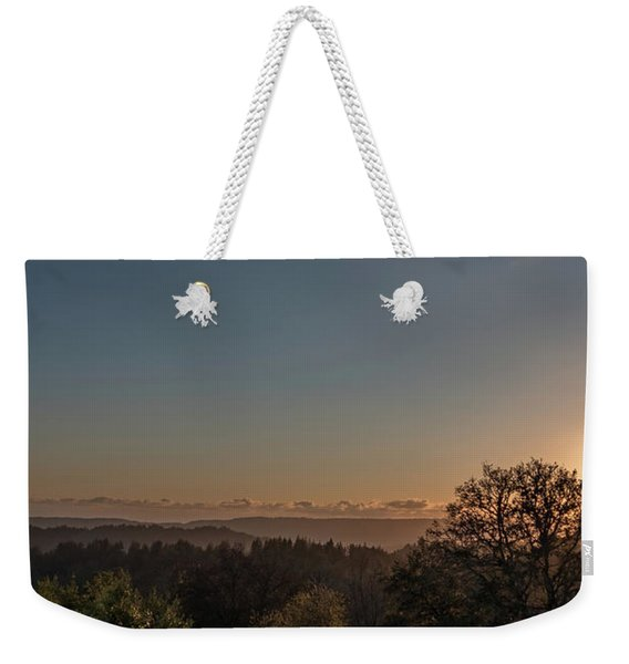 Sunset Behind Tree With Forest And Mountains In The Background Weekender Tote Bag