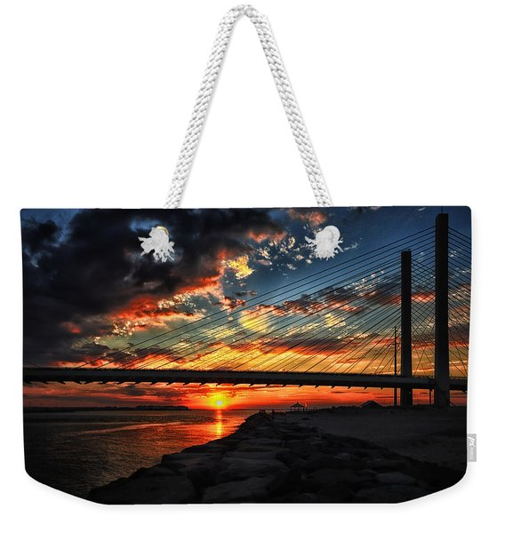 Sunset Bridge At Indian River Inlet Weekender Tote Bag