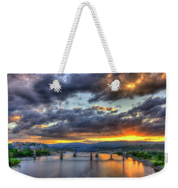 Sunset Bridges Of Chattanooga Walnut Street Market Street Weekender Tote Bag