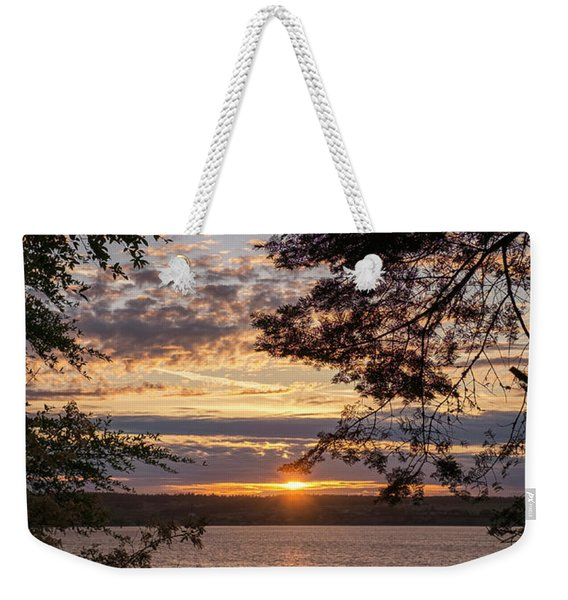 Weekender Tote Bag featuring the photograph Sunset Caressed By Tree Branch by Mary Lee Dereske