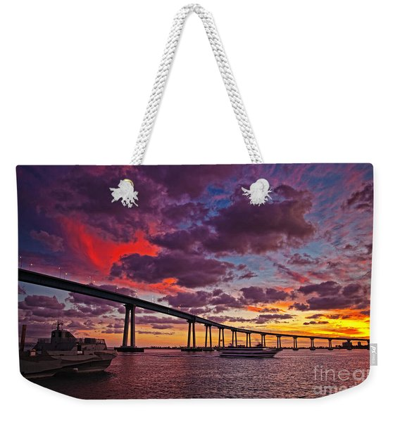Weekender Tote Bag featuring the photograph Sunset Crossing At The Coronado Bridge by Sam Antonio Photography