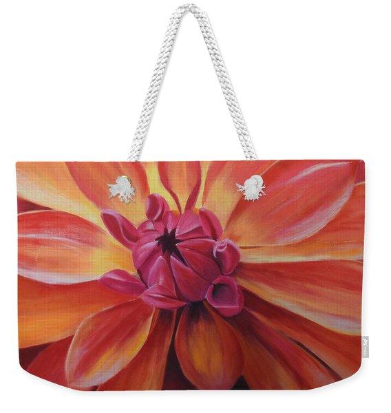 Sunset Dahlia Weekender Tote Bag