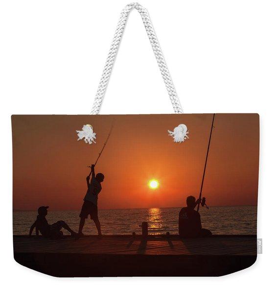 Sunset Fishermenr Weekender Tote Bag