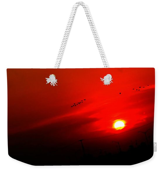 Sunset Geese Leaving Disappearing City - 0814  Weekender Tote Bag