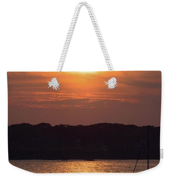 Weekender Tote Bag featuring the photograph Sunset, Harpswell, Maine #20052 by John Bald
