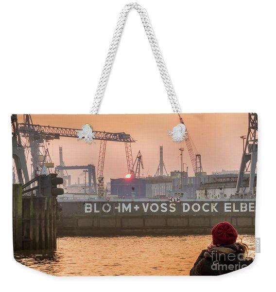 Sunset In Hamburg Port Germany Weekender Tote Bag