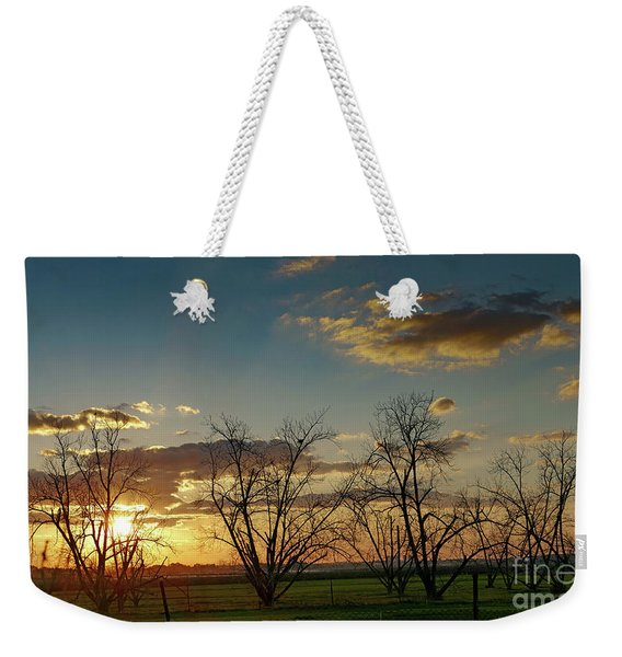 Weekender Tote Bag featuring the photograph Sunset In The Fields Of Binyamina by Arik Baltinester