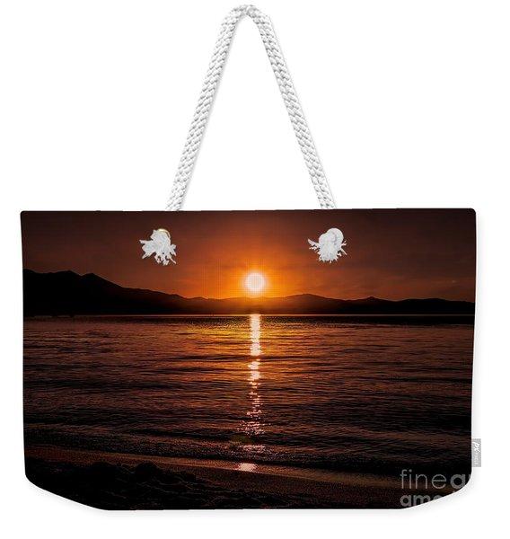 Sunset Lake 810pm Textured Weekender Tote Bag