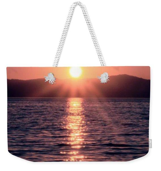Sunset Lake Verticle Weekender Tote Bag