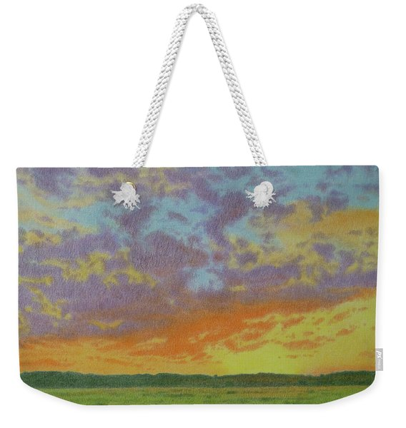 Weekender Tote Bag featuring the pastel Sunset Near Miles City by Cris Fulton