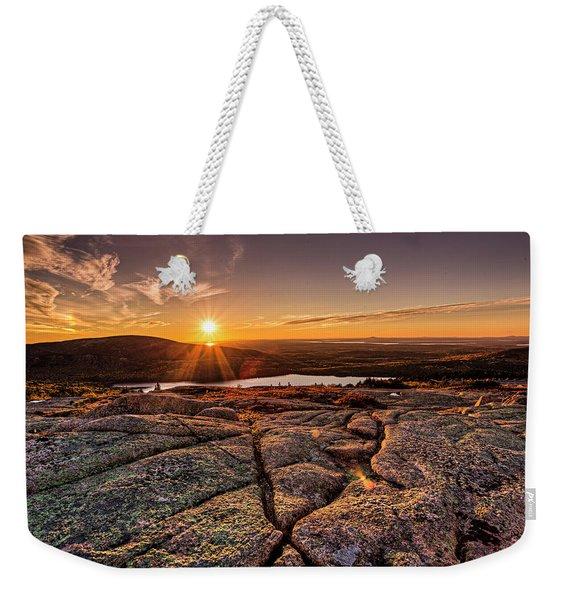 Sunset On Cadillac Mountain Weekender Tote Bag