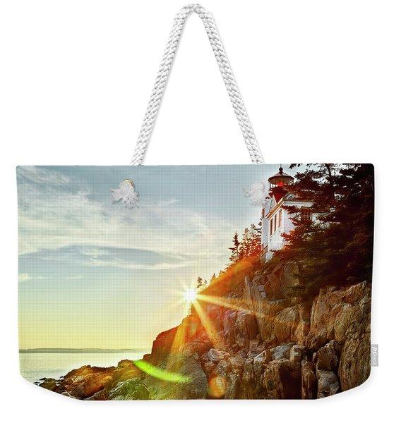 Ocean Sunset On Maine's Bass Harbor Lighthouse Weekender Tote Bag