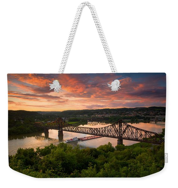 Sunset On Ohio River  Weekender Tote Bag