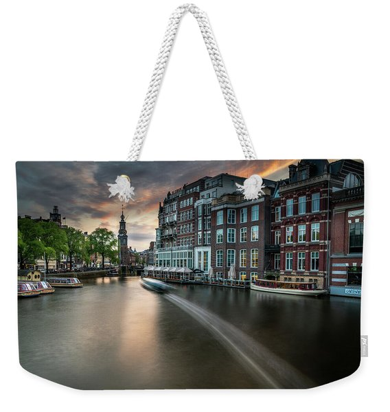 Sunset On The Amstel River In Amsterdam Weekender Tote Bag