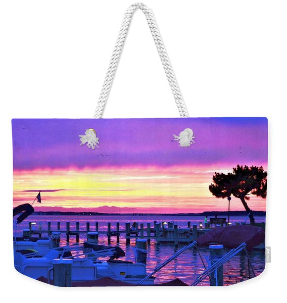 Weekender Tote Bag featuring the photograph Sunset On The Docks by Kim Bemis