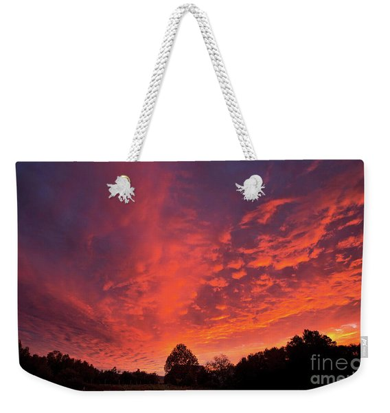 Sunset Over A Maine Farm Weekender Tote Bag