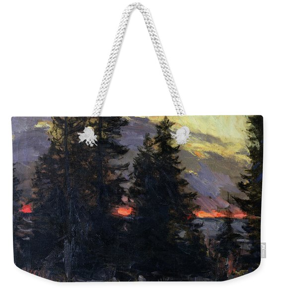 Sunset Over A Winter Landscape Weekender Tote Bag