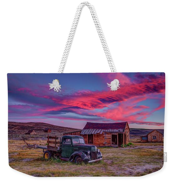 Sunset Over Bodie's Green Truck Weekender Tote Bag