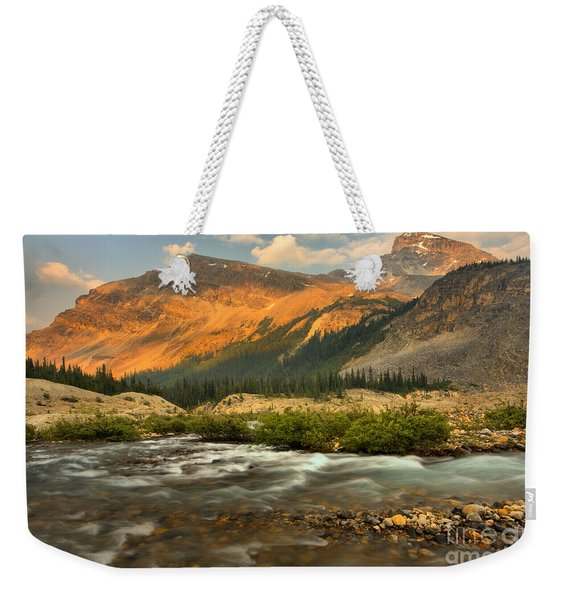 Sunset Over Bow Glacier Stream Weekender Tote Bag
