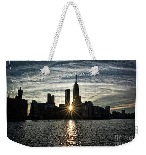 Sunset Over Chicago Skyline And Lake Michigan Weekender Tote Bag
