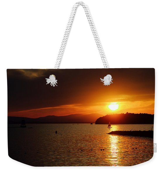 Sunset Over Lake Champlain Weekender Tote Bag